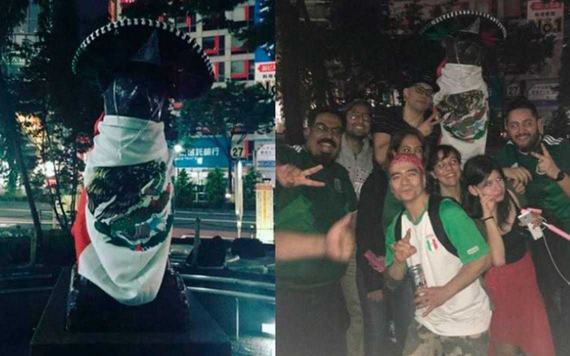 Mexicanos en Japón festejan con Hachiko la victoria de la Selección en el Mundial