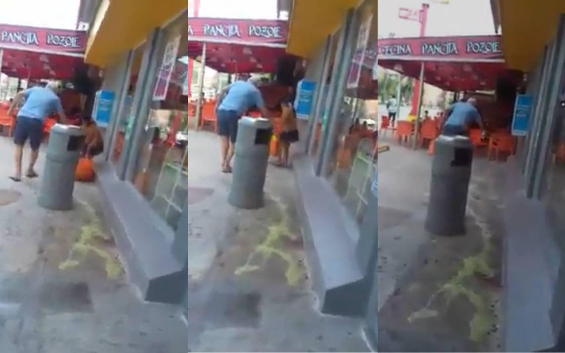[Video] Viralizan momento donde un anciano arroja ácido a indígena en Cancún