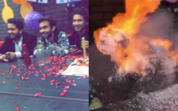 Celebrara su cumpleaños pero terminó bajo las llamas del pastel