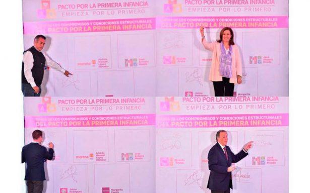 Candidatos presidenciales firman Pacto por la Infancia; AMLO, el ausente
