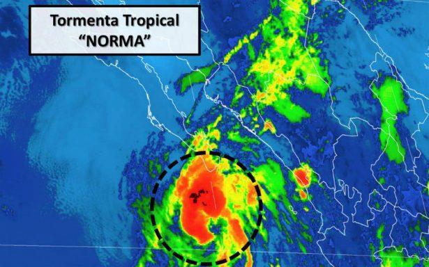 Norma se degrada a tormenta tropical; afecta con lluvias al noroeste y occidente del país