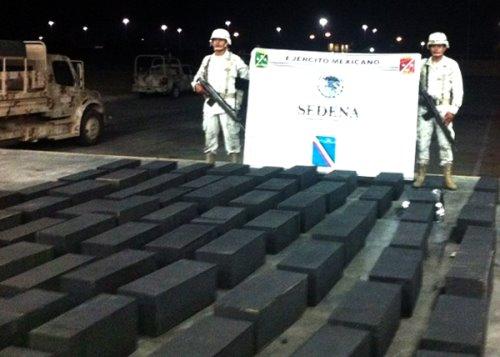 Aseguran 1 mil 235 kilos de marihuana en cargamento de carbón