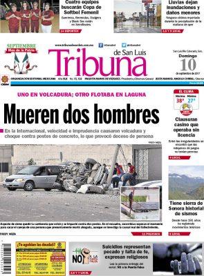 Portada Tribuna 10 septiembre 2017