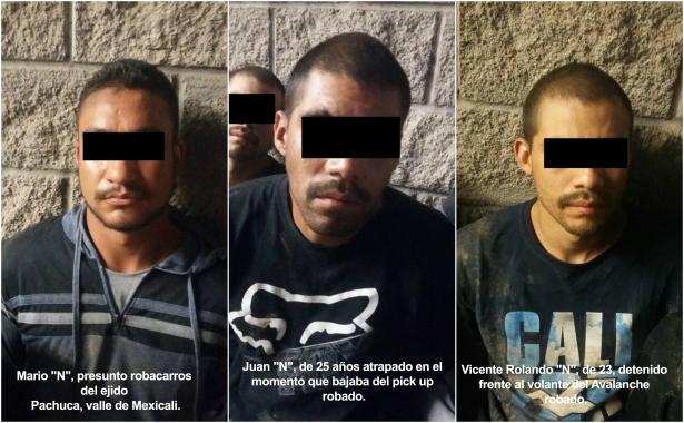 Atrapa la policía a 3 ladrones de autos