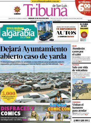 Portada Tribuna 21 julio 2018
